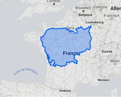 Superposition du Cambodge sur le territoire français.